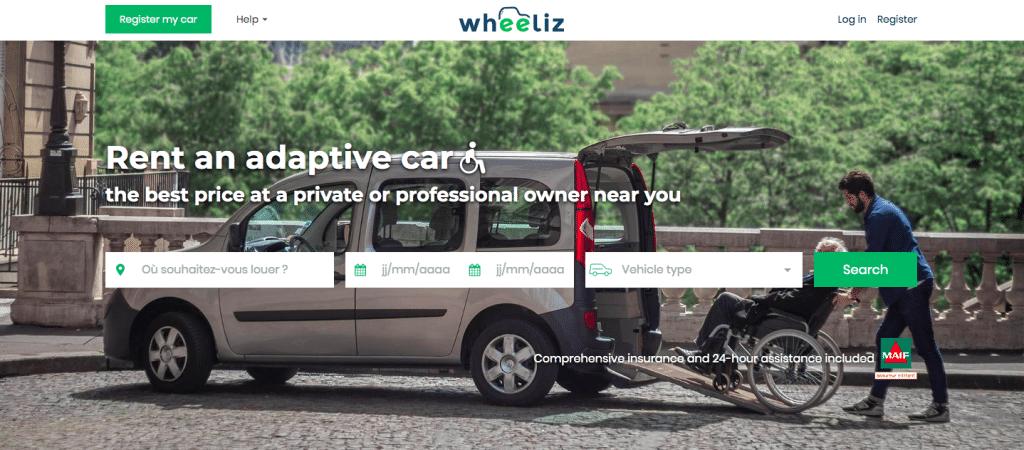 Page d'accueil du site internet Wheeliz