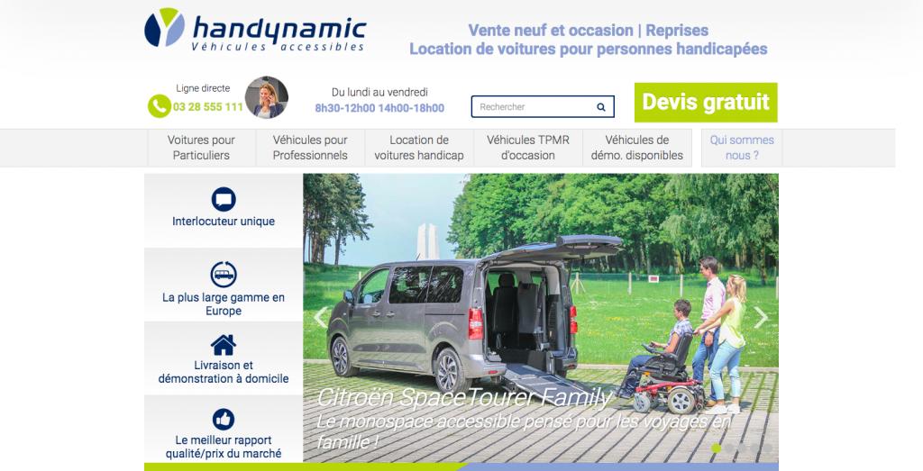 page d'accueil du site internet handynamic, qui propose des véhicules pour personnes en situation de handicap moteur