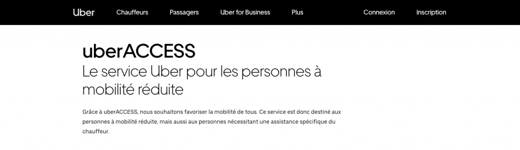 page d'accueil du site internet de uberACCESS